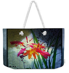 Weekender Tote Bag featuring the digital art Flowers On Parchment by Absinthe Art By Michelle LeAnn Scott