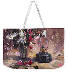 Weekender Tote Bag featuring the painting Flowers With Lantern by Nancy Griswold