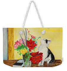 Fluff Smells The Lavender- Painting Weekender Tote Bag