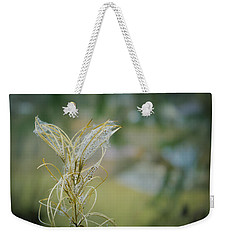 Fluffy Weed Close-up Against Blurry Background Weekender Tote Bag by Vlad Baciu
