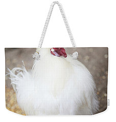 Weekender Tote Bag featuring the photograph Fluffy White Hen by Erika Weber