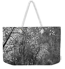 Weekender Tote Bag featuring the photograph Fly Fisherwoman Bw by Denise Romano