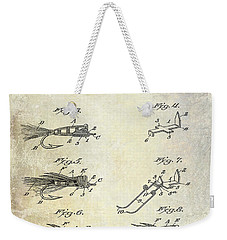 1922 Fly Fishing Lure Patent Drawing Weekender Tote Bag by Jon Neidert