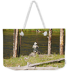Weekender Tote Bag featuring the photograph Fly Fishing by Mary Carol Story