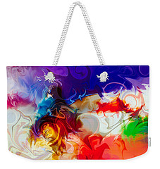Weekender Tote Bag featuring the painting Fly With Me by Omaste Witkowski