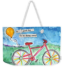 Flying Away- Bicycle And Balloon Painting Weekender Tote Bag