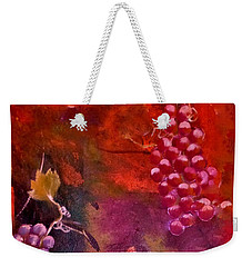 Weekender Tote Bag featuring the painting Flying Grapes by Lisa Kaiser