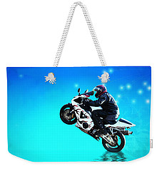 Weekender Tote Bag featuring the photograph Flying Low One More Time On Two Wheels by Joyce Dickens