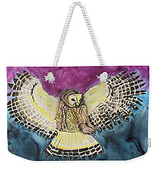 Weekender Tote Bag featuring the painting Flying Owl by Jeanne Fischer