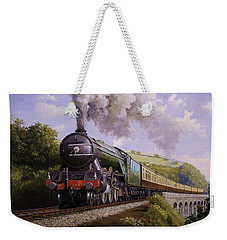 Flying Scotsman On Broadsands Viaduct. Weekender Tote Bag