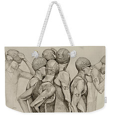 Weekender Tote Bag featuring the drawing Focus by Jani Freimann