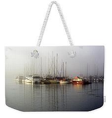 Fog Light In The Harbor Weekender Tote Bag by AJ  Schibig