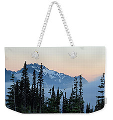 Mt. Rainier's Foggy Sunset Weekender Tote Bag