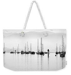 Fog Settles On Morro Bay Weekender Tote Bag by AJ  Schibig