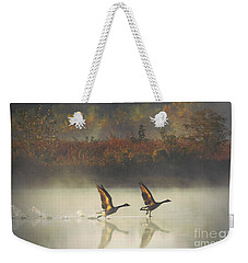 Foggy Autumn Morning Weekender Tote Bag