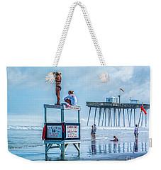 Foggy Beach View Weekender Tote Bag
