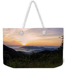 Foggy Blue Ridge Mountain Sunrise Weekender Tote Bag