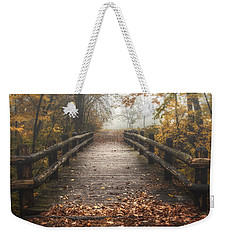 Foggy Lake Park Footbridge Weekender Tote Bag