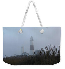 Foggy Montauk Lighthouse Weekender Tote Bag by Karen Silvestri