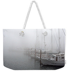 Weekender Tote Bag featuring the photograph Foggy Morning In Charleston Harbor by AJ  Schibig