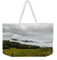 Weekender Tote Bag featuring the photograph Foggy Morning In The Mountains. by Debbie Green