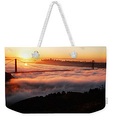 Weekender Tote Bag featuring the photograph Foggy Morning San Francisco by James Kirkikis