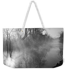 Foggy River Morning Sunrise Weekender Tote Bag