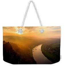 Foggy Sunrise At The Elbe Weekender Tote Bag