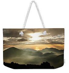 Foggy Sunrise Over Haleakala Crater On Maui Island In Hawaii Weekender Tote Bag