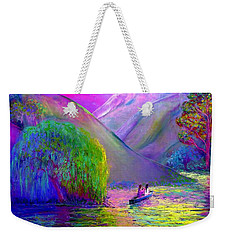 Weekender Tote Bag featuring the painting  Love Is Following The Flow Together by Jane Small