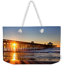 Folly Beach Pier At Sunrise Weekender Tote Bag by Lynne Jenkins