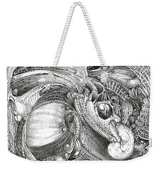Weekender Tote Bag featuring the drawing Fomorii Aliens by Otto Rapp