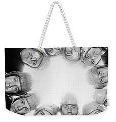 Football Team Huddle Weekender Tote Bag by Underwood Archives