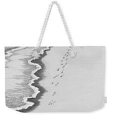 Weekender Tote Bag featuring the digital art Footprints On Boca Beach by Carol Jacobs