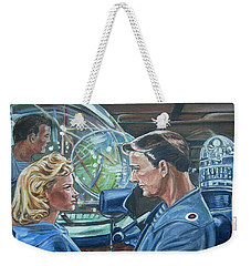 Weekender Tote Bag featuring the painting Forbidden Planet by Bryan Bustard