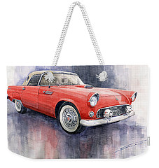 Ford Thunderbird 1955 Red Weekender Tote Bag
