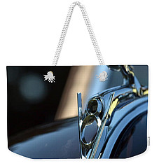 Weekender Tote Bag featuring the photograph Ford V-8 Hood Ornemant by Dean Ferreira