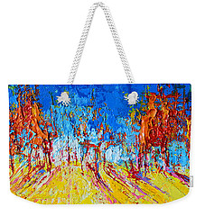 Weekender Tote Bag featuring the painting Tree Forest 1 Modern Impressionist Landscape Painting Palette Knife Work by Patricia Awapara