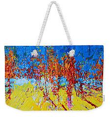 Tree Forest 2 Modern Impressionist Landscape Painting Palette Knife Work Weekender Tote Bag
