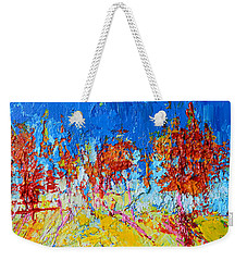 Weekender Tote Bag featuring the painting Tree Forest 3 Modern Impressionist Landscape Painting Palette Knife Work by Patricia Awapara