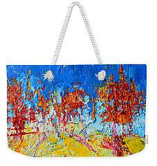 Tree Forest 3 Modern Impressionist Landscape Painting Palette Knife Work Weekender Tote Bag