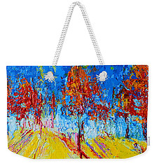 Weekender Tote Bag featuring the painting Tree Forest 4 Modern Impressionist Landscape Painting Palette Knife Work by Patricia Awapara