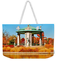 Weekender Tote Bag featuring the photograph Forest Park Gazebo by Peggy Franz