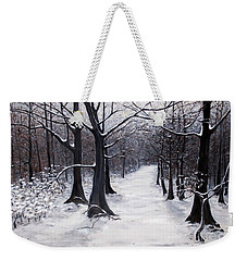 Forest Path In Winter Weekender Tote Bag