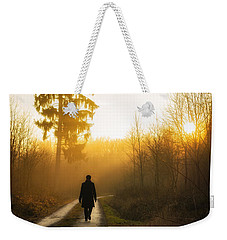 Forest Path Into The Warm Orange Sunset Weekender Tote Bag by Matthias Hauser
