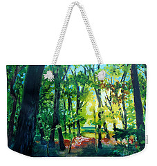 Weekender Tote Bag featuring the painting Forest Scene 1 by Kathy Braud