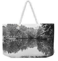 Forest Snow Weekender Tote Bag by Miguel Winterpacht