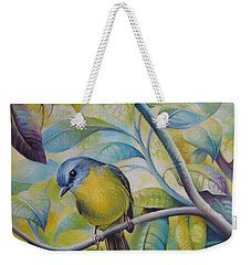 Weekender Tote Bag featuring the painting Forest Song by Elena Oleniuc