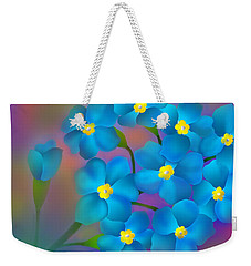 Weekender Tote Bag featuring the digital art Forget- Me -not Flowers by Latha Gokuldas Panicker
