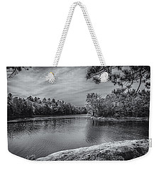 Weekender Tote Bag featuring the photograph Fork In River Bw by Mark Myhaver